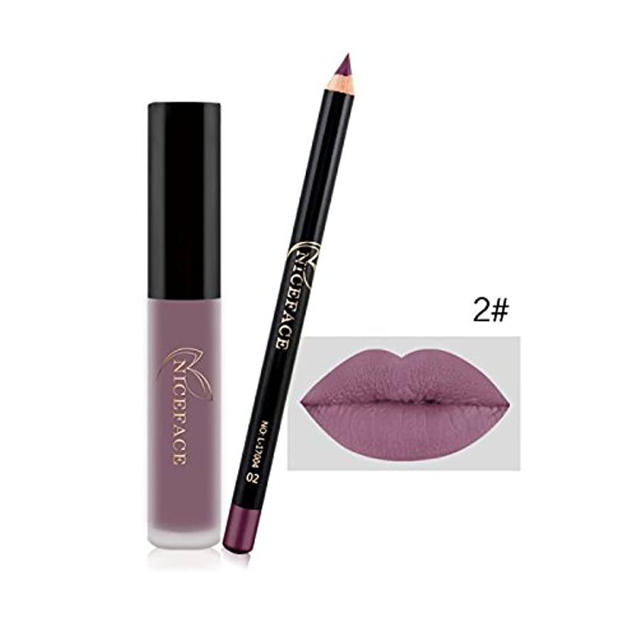 髄軽く下手(2#) Makeup Set Lip Gloss + Lip Liner Set Lip Set Matte Lipstick Long Lasting Waterproof Solid Lip Pencil Liner...