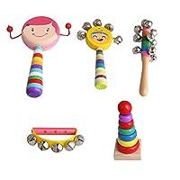 Yibuy 5個セット 多色 木製 子供 打楽器 キット バッグ付き 幼児 パーカッション バッグ付き 教育楽器 女の子のセット