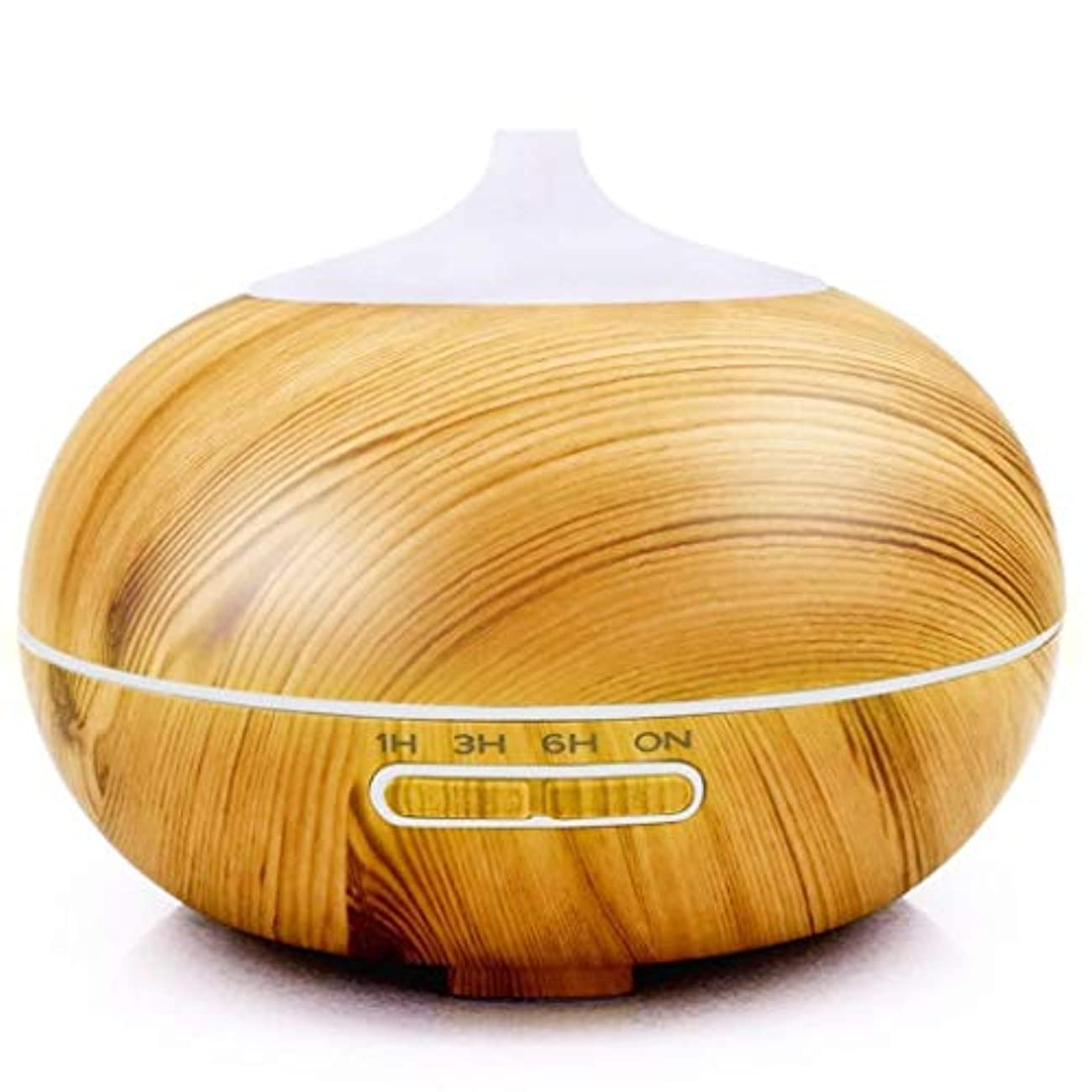 友だち損傷チャーム300ミリリットルエッセンシャルオイルディフューザーアロマディフューザー木材穀物アロマディフューザーで7色ledライトウォーターレス自動シャットオフ用ホームオフィスヨガ (Color : Light Wood Grain)