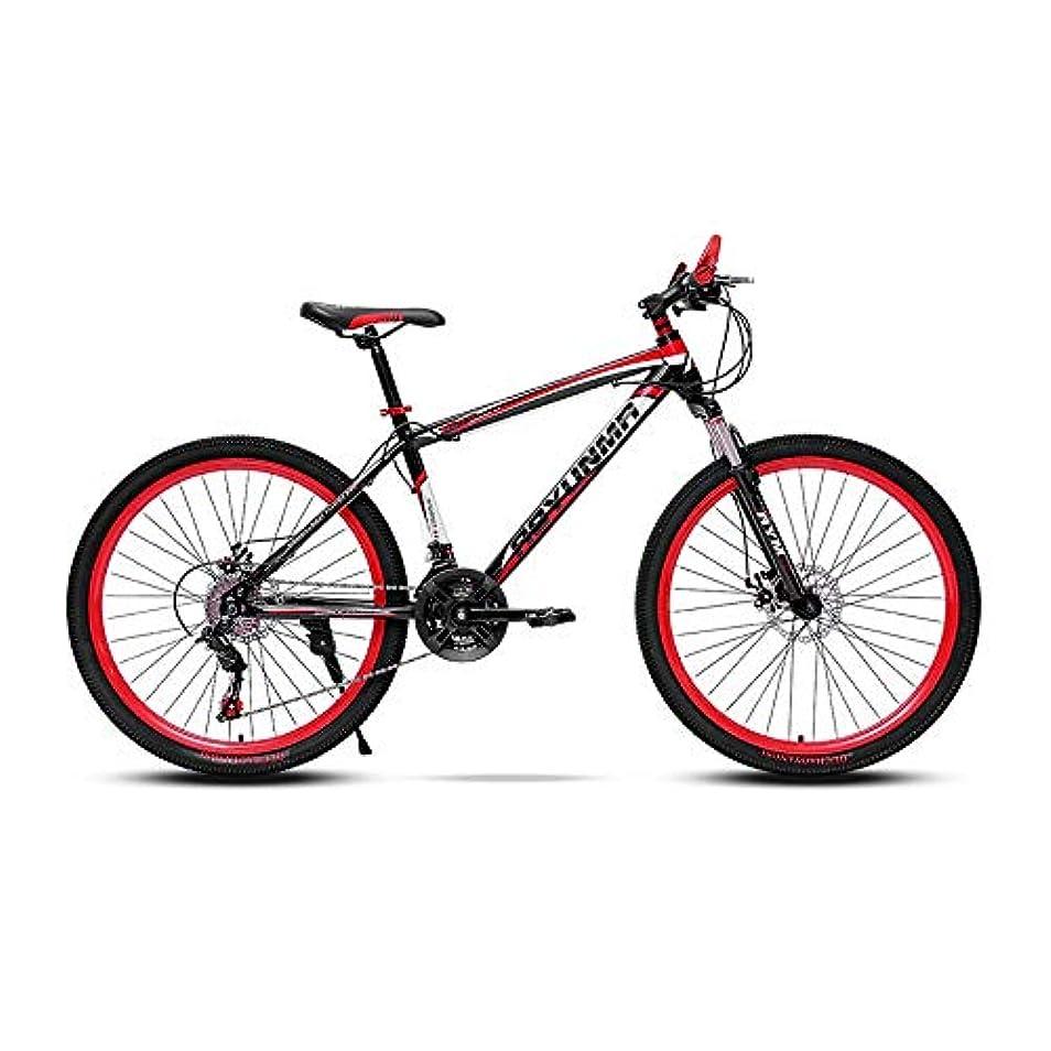 長老分析ポーンLRHD マウンテンバイク高炭素鋼フレーム自転車のフォークサスペンション3スポークホイールダブルディスクブレーキレースの自転車24/26インチのMTBバイクレーシング自転車屋外サイクリング、21スピード(レッド)