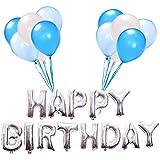 Toyvian お誕生日おめでとう風船大16インチインフレータブルお誕生日おめでとうバナー100ラテックス風船子供と大人用誕生日パーティーの装飾