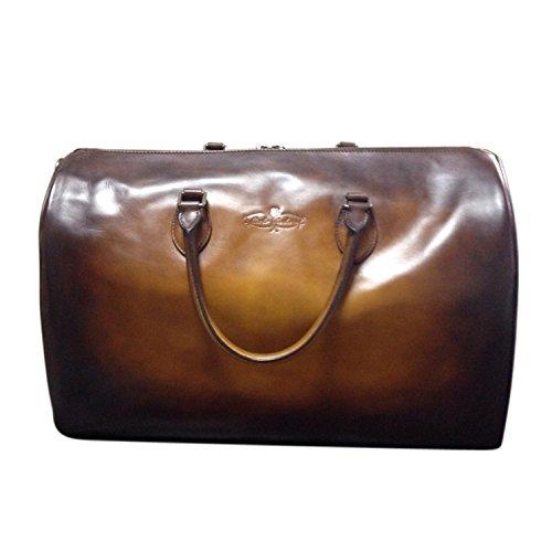 (カルロ テオドーラ) 熟練の革職人が作る 門外不出の染色技術と斬新なアートレザー技術の調和から生まれた ボストンバッグ