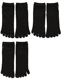 (ミズノ) MIZUNO メンズショート丈ソックス 紳士 五本指靴下 3足組 強くて丈夫 スポーツ 定番 黒