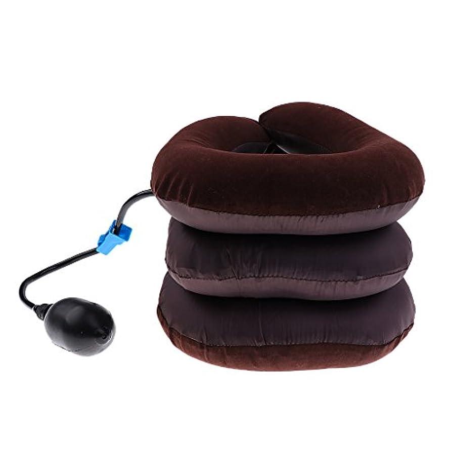 注釈一般海賊dailymall 2xインフレータブルポンプピローネックヘッドトラクションサポートデバイス-コーヒー