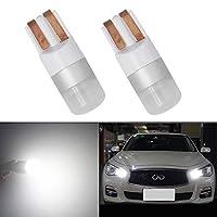 T10 LED バルブ ホワイト 6000K HSUN 10V-60V電圧、12V-24V車兼用 ポジションランプ W5W 194 175 161 168 12961 HP1860チップ CANBUSキャンセラー内蔵 360度 ルームランプ ナンバー灯、2個セット