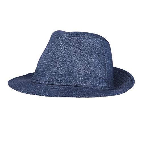 本革 羊革 レザーハット メンズ 帽子 ハット 無地 中折ハット レザー 紳士帽 おしゃれ 秋 冬 春 防寒 つば広 大きなサイズ 59 60CM 高級感 プレゼント 5のスタイル (紺)