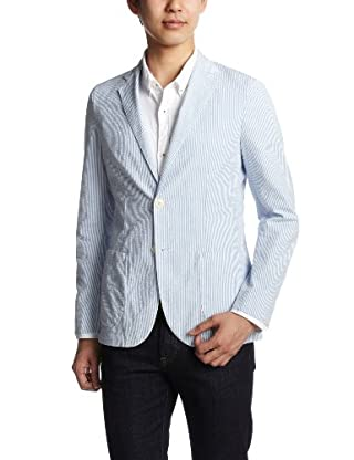 Seersucker Stripe Jacket 3122-139-0259: Light Blue