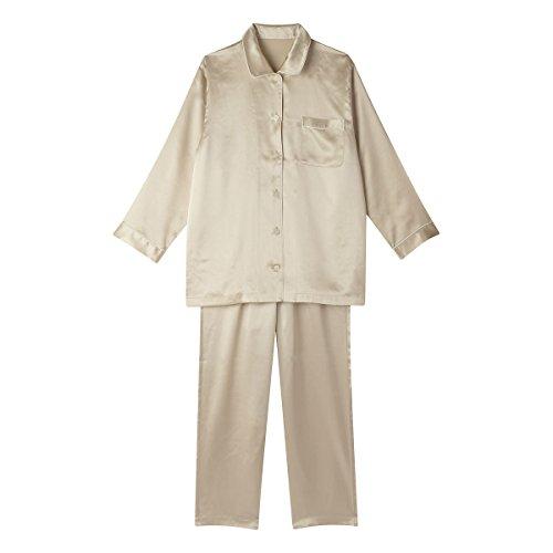(ワコール)Wacoal 睡眠科学 レディース シルクサテン シャツ パジャマ 長袖 上下セット シルク100% 絹(BE-