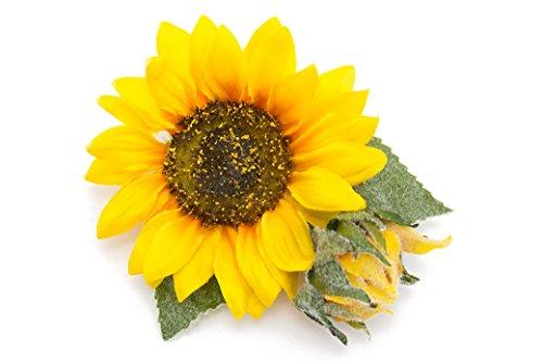 髪飾り 黄色 イエロー 向日葵 ヒマワリ ひまわり 花 フラワー クリップ コサージュ 浴衣向け 夏 髪かざり ヘアアクセサリー