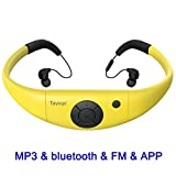 Tayogo 8GB Waterproof MP3 Player, Bluetooth Swimming Headphones Underwater 10FT with Shuffle Feature, Support FM APP Flash Drive - Yellow