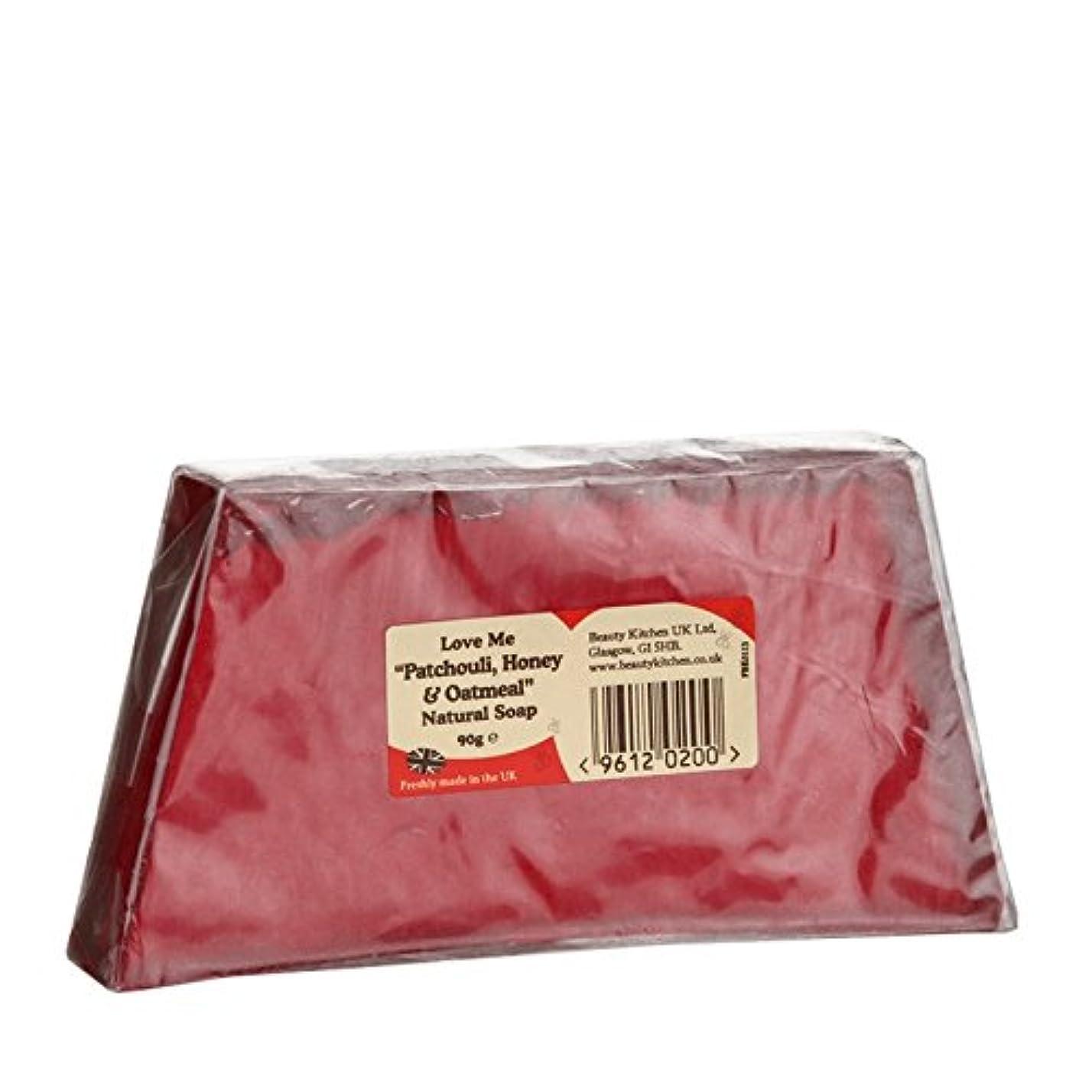 天窓地元葉を集めるBeauty Kitchen Love Me Patchouli, Honey & Oatmeal Natural Soap 90g (Pack of 2) - 美しさのキッチンは私にパチョリ、ハニー&オートミール、天然石鹸...