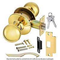 円柱状Lockset non-handed Heavy Duty、商用グレード2ノブドアハンドルポリッシュ真鍮(604) us3仕上げ