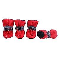PETLESO パピー犬の屋内靴のためのペットの足プロテクター滑り止め犬のブーツ-レッド,S
