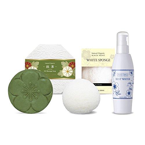 京のお茶石鹸 抹茶120g&ホワイトスポンジ&プレミアムベストウォーター100ml スキンケア洗顔セット