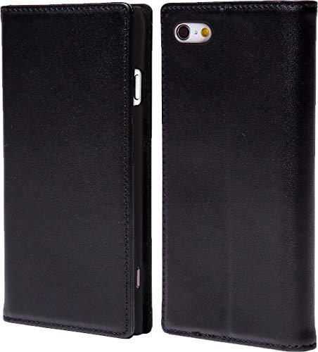 steady advance 最高級 本革 (牛革) iPhone6 iPhone6s アイフォン6 用 スマホ ケース 手帳型  硬度 9H 強化 ガラスフィルム  セット マグネット式 ソフトレザー (iPhone 6s, オフブラック)
