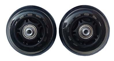 2輪のリモワスーツケースに使える交換用車輪(ホイール) 1台分2個セット 80mm (クリア&ブラック)
