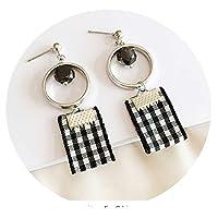 925スターリングシルバーのイヤリング女性の韓国風の風のイヤリング人格耳ピアス耳クリップ気質長い段落イヤリングイヤリング,11黒と白のグリッド小さな正方形925シルバー針