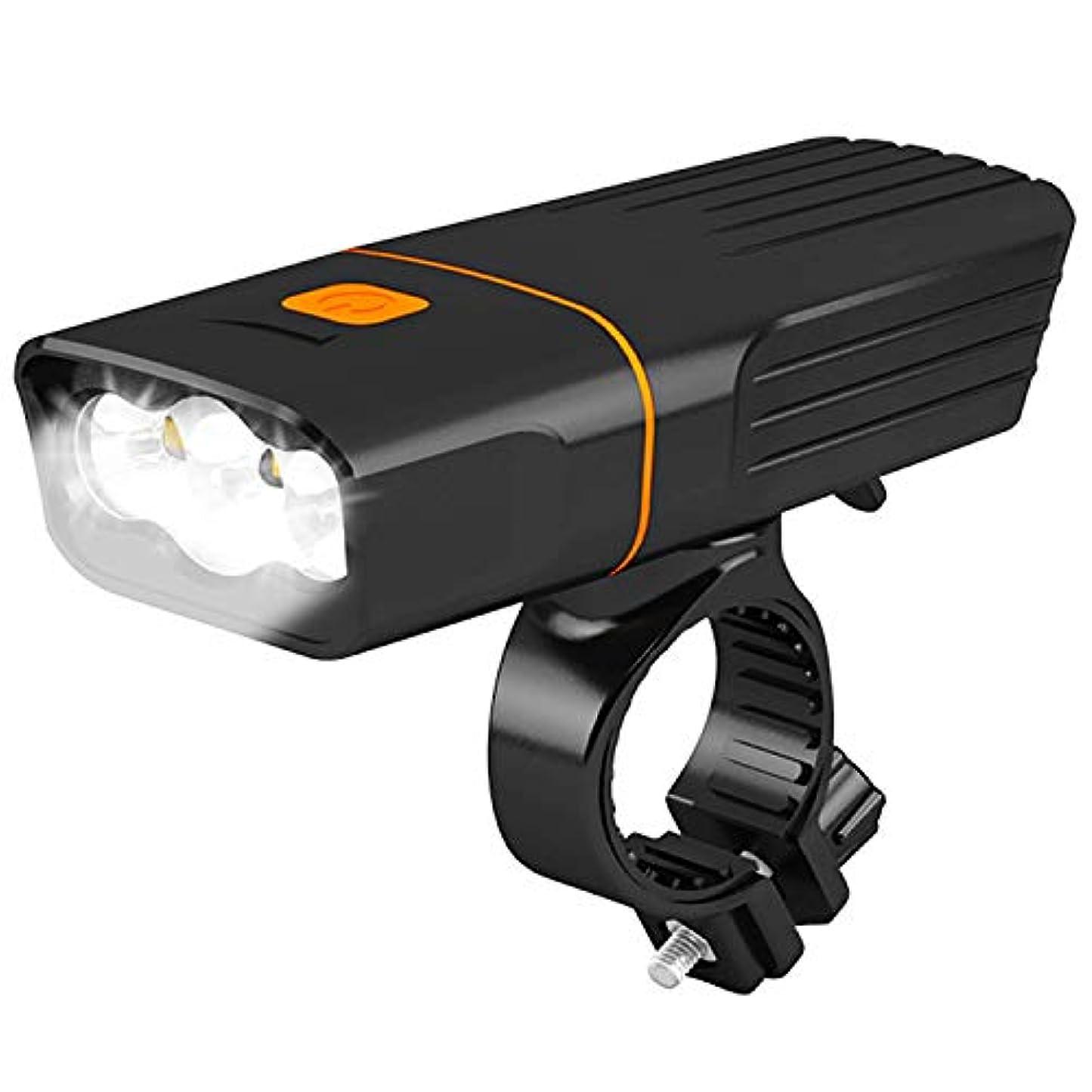 心理学紫の実質的自転車 ライト 自転車ヘッドライト USB充電式 3モード点灯懐中電灯 1200ルーメン高輝度 ウォーキング 釣りに最適 ブラック