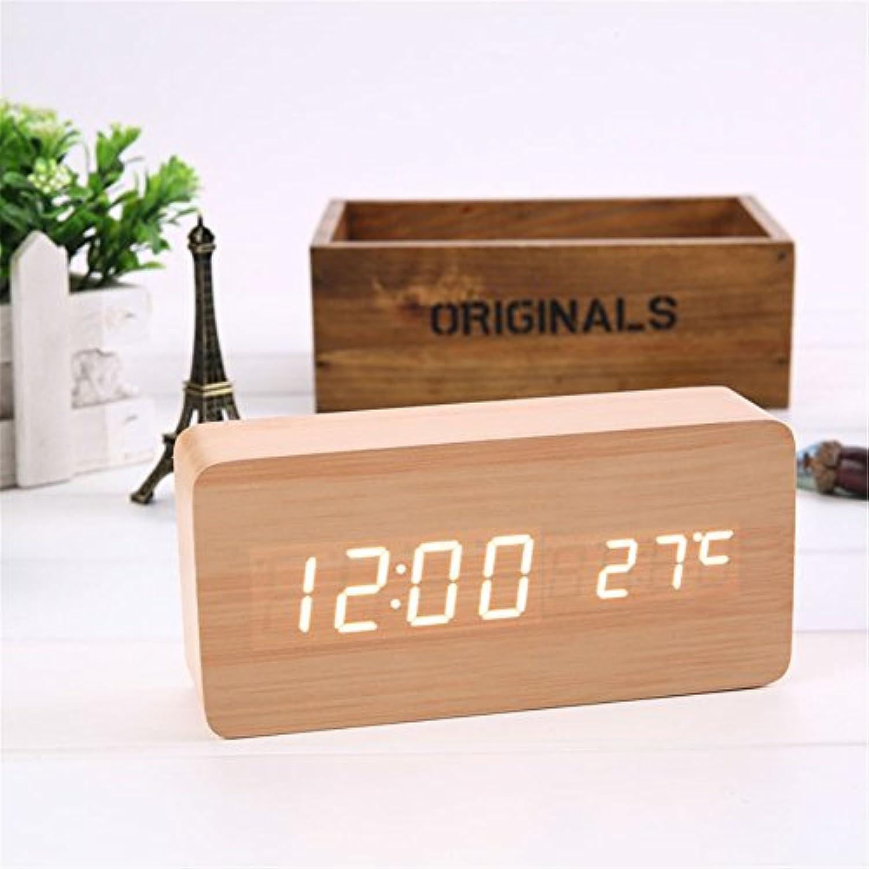 Sund 目覚まし時計 大音量 電波 置き時計 デジタル アラーム LED 温度表示 木製 USBケーブル付 インテリア 省電力モード 高品質 ベッド オフィス 選べる5タイプ