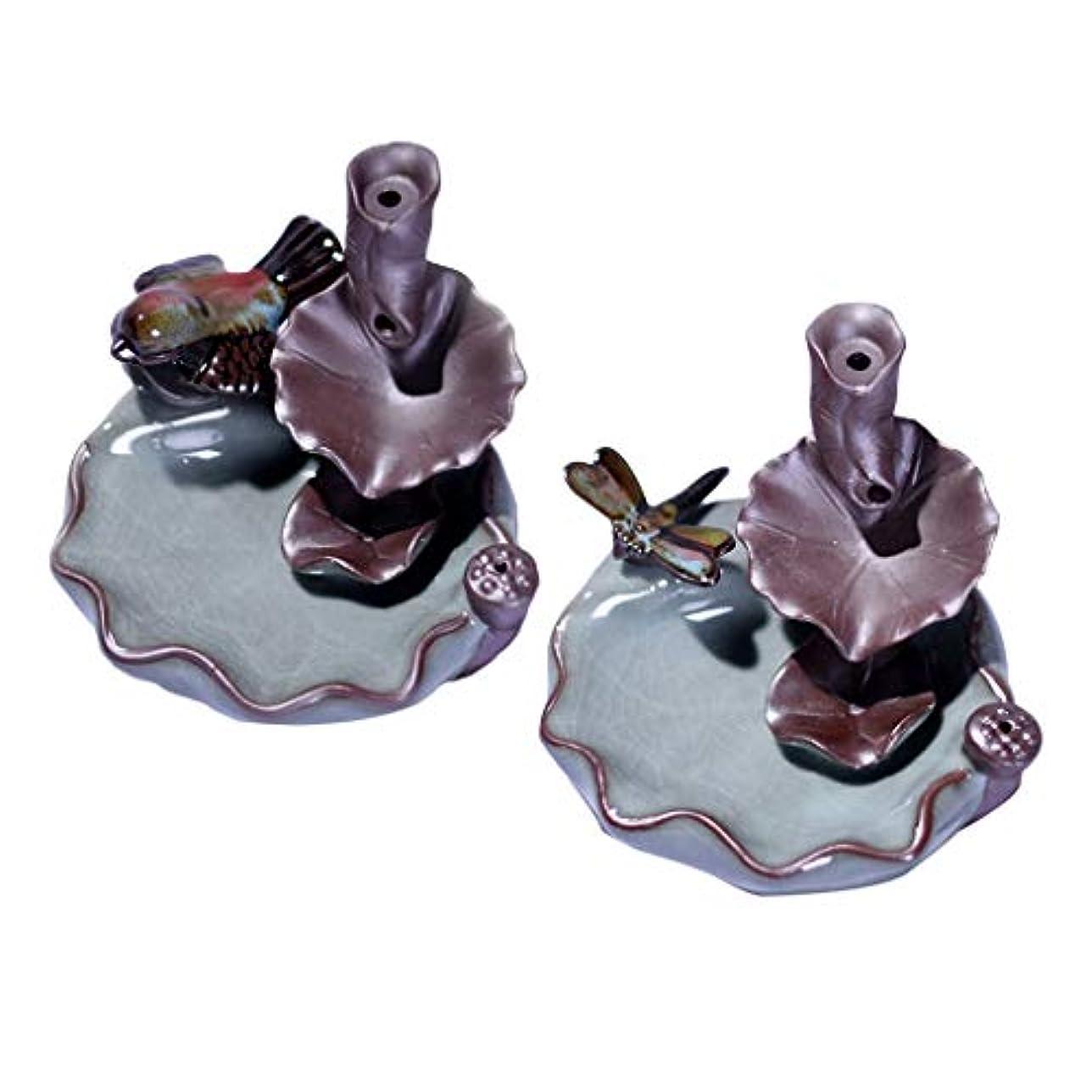 ジャンクションサンダル侵略B Blesiya 香バーナー 香炉 装飾的 仏教 セラミック 香炉 2個