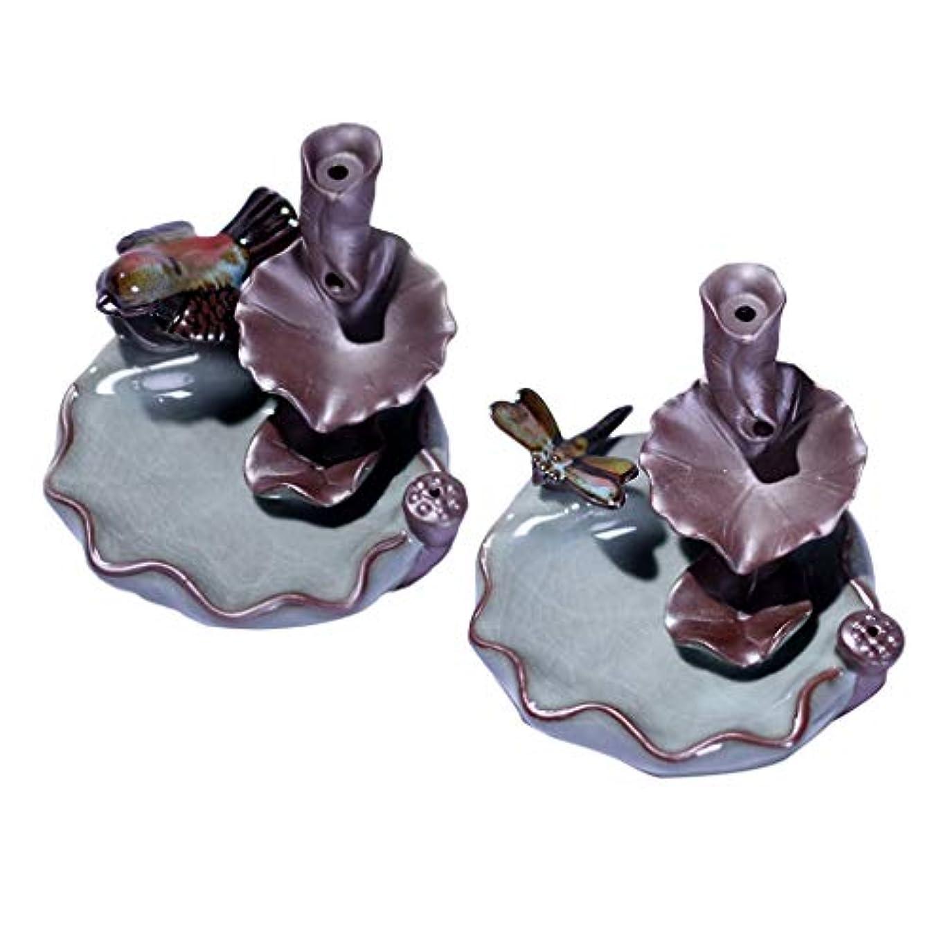 サラミ無人かもしれない香バーナー 香炉 装飾的 仏教 セラミック 香炉 2個