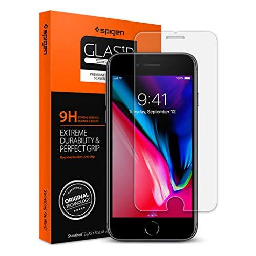 【Spigen】 スマホフィルム iPhone8 / iPhone7 対応 薄さ0.4mm 【日本製旭硝子採用】 ガラスフィルム 強化ガラス 液晶保護フィルム 高透過率 液晶パネル 保護 3DTouch対応 042GL20607 (GLAS.tR SLIM (1枚入)