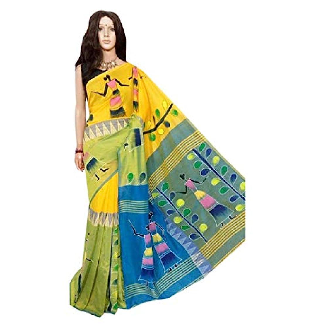 クロールテント苦悩Yellow Blue Original West Bengal Handloom Hand Painted Soft Finish Cotton Saree Indian 女性サリ 704