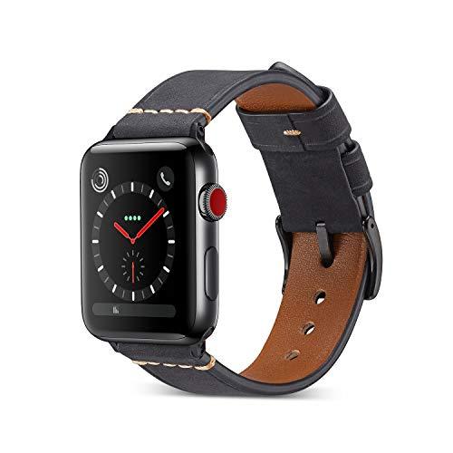 Yakia Apple Watchバンド 本革 アップルウォッチバンド 高級 レザー製 アップルウォッチ ベルト 取付け簡単 iWatch腕時計ストラップ Apple Watch Series 4 / 3 / 2 /1対応 スポーツバンド 38/40mm ブラック