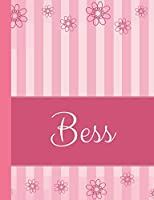 Bess: Personalized Name College Ruled Notebook Pink Lines and Flowers