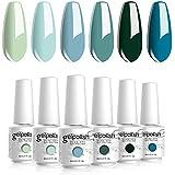 Vishine Gel Nail Polish Teal Blue Olive Green Soak Off Gift Set UV LED Art Varnish Colors UV Light LED Lamp Base Top Coat Nee