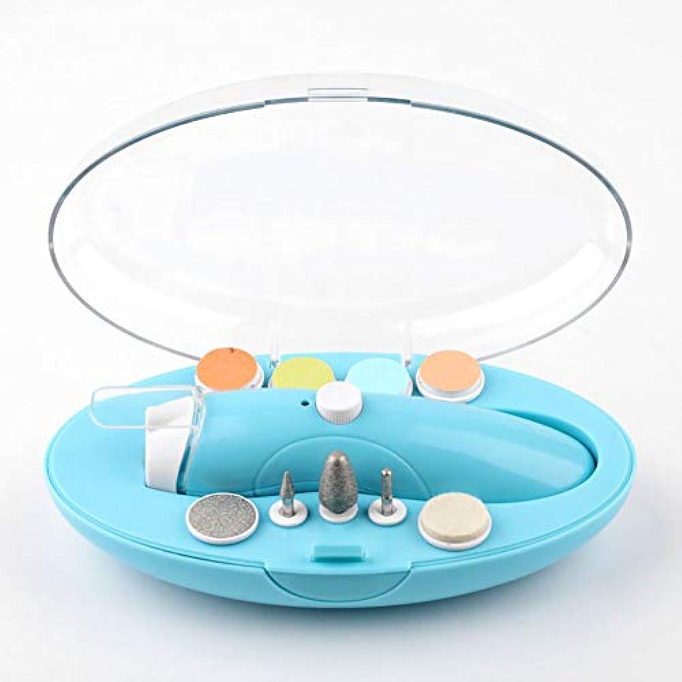 電動ネイルケアキットベビーレーベルネイルケアセットアタッチメン新生児USB充電爪切り赤ちゃん電気ネイルはさみ赤ちゃんマニキュアブルー。