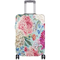 Mydaily Watercolor Flower Floral Luggage Cover Fits 18-32 Inch Suitcase Spandex Travel Protector