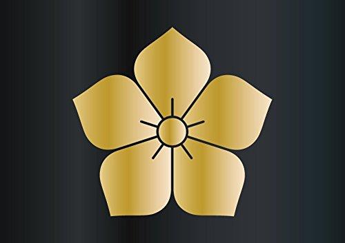 家紋ステッカーシリーズ 1 桔梗 明智 光秀 5cm×2枚 屋外5年以上! (金)