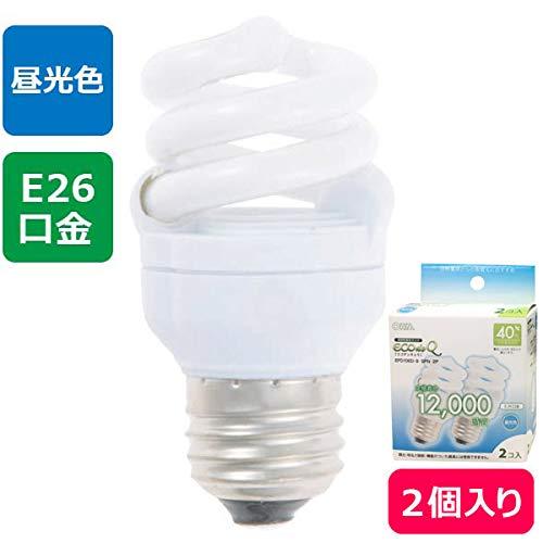 オーム オーム電機 電球形蛍光ランプ D型40Wタイプ E26 昼光色 EFD10ED/8-SPN-2P 1箱(2個)
