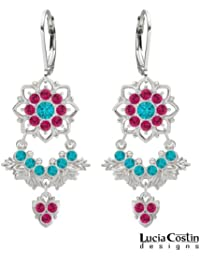 .925 Sterling Silver Earrings by Lucia Costin with Turquoise Green and Fuchsia Swarovski Crystals, Decorated with...