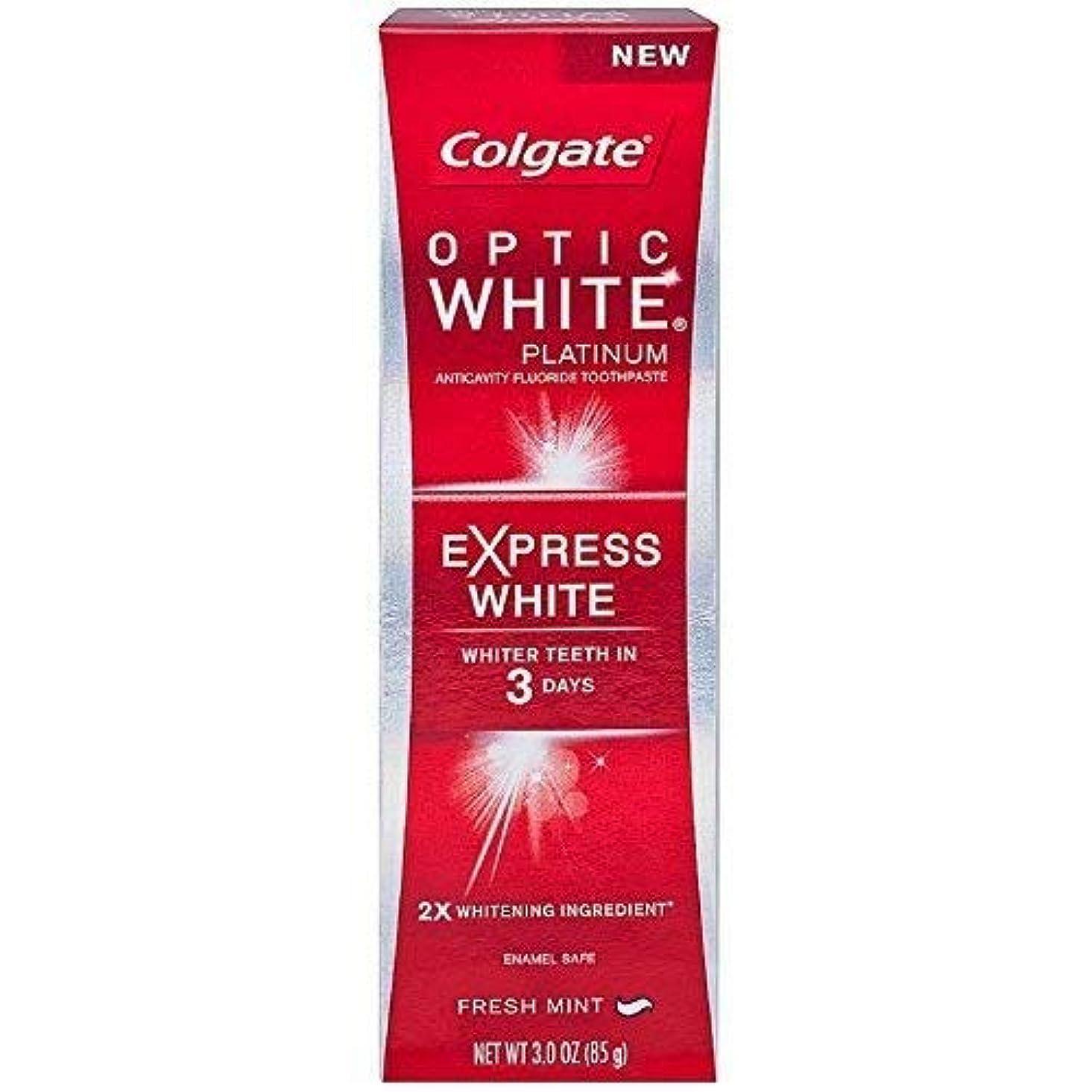コットンくしゃみ壊すColgate オプティックホワイトプラチナエクスプレス白の歯磨き粉、フレッシュミント3オズ(5パック)