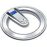体重計 電子スケール透明デジタル高精度ノンスリップバスルーム重量スケール大人の健康失う重量ラウンドバックライトディスプレイ180kg容量グレー