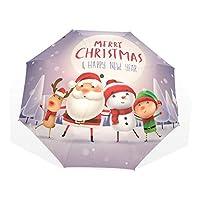 許さんの店 折りたたみ傘 サンタクロース トナカイ 雪だるま エルフ かわいい クリスマステーマ 日傘 雨傘 晴雨兼用 レディース メンズ 軽量 UVカット 8本骨 丈夫 遮光 撥水 耐風 収納ケース付 プレゼント 1011098