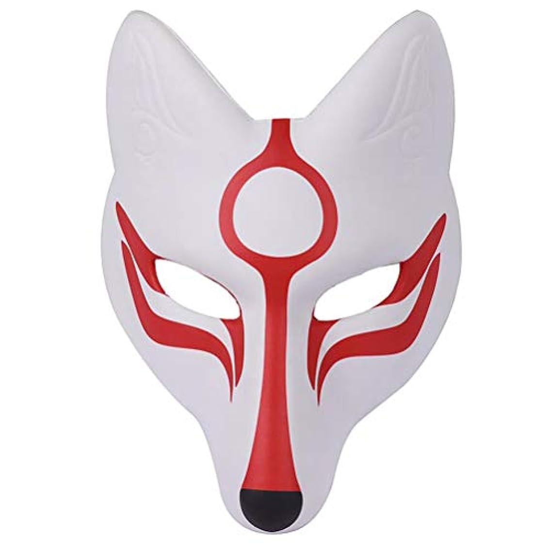 陰気アラーム注入するAMOSFUN フォックスマスク日本歌舞伎きつねマスク用男性女性子供ハロウィーン仮装衣装プロップ