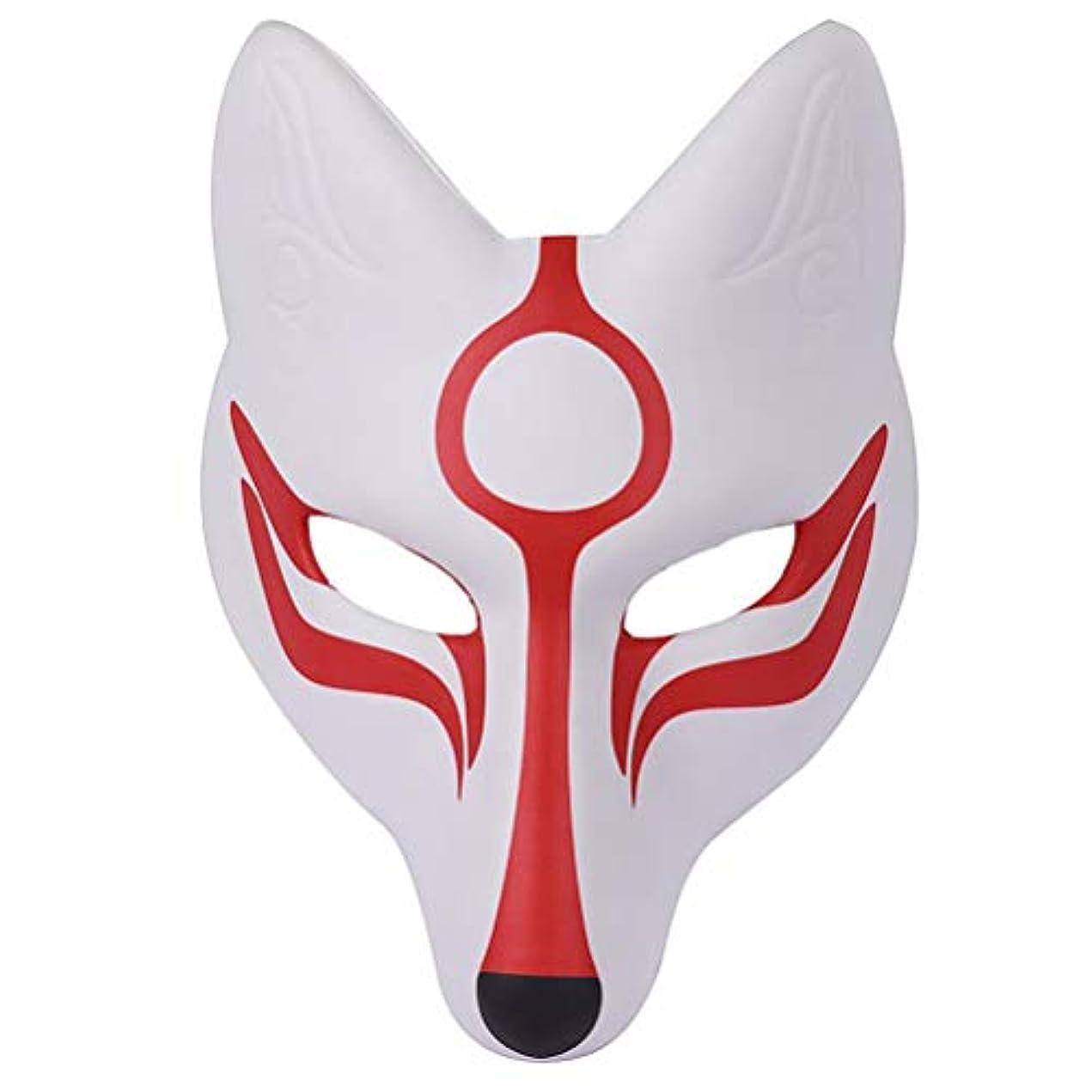 容器軍団降臨AMOSFUN フォックスマスク日本歌舞伎きつねマスク用男性女性子供ハロウィーン仮装衣装プロップ
