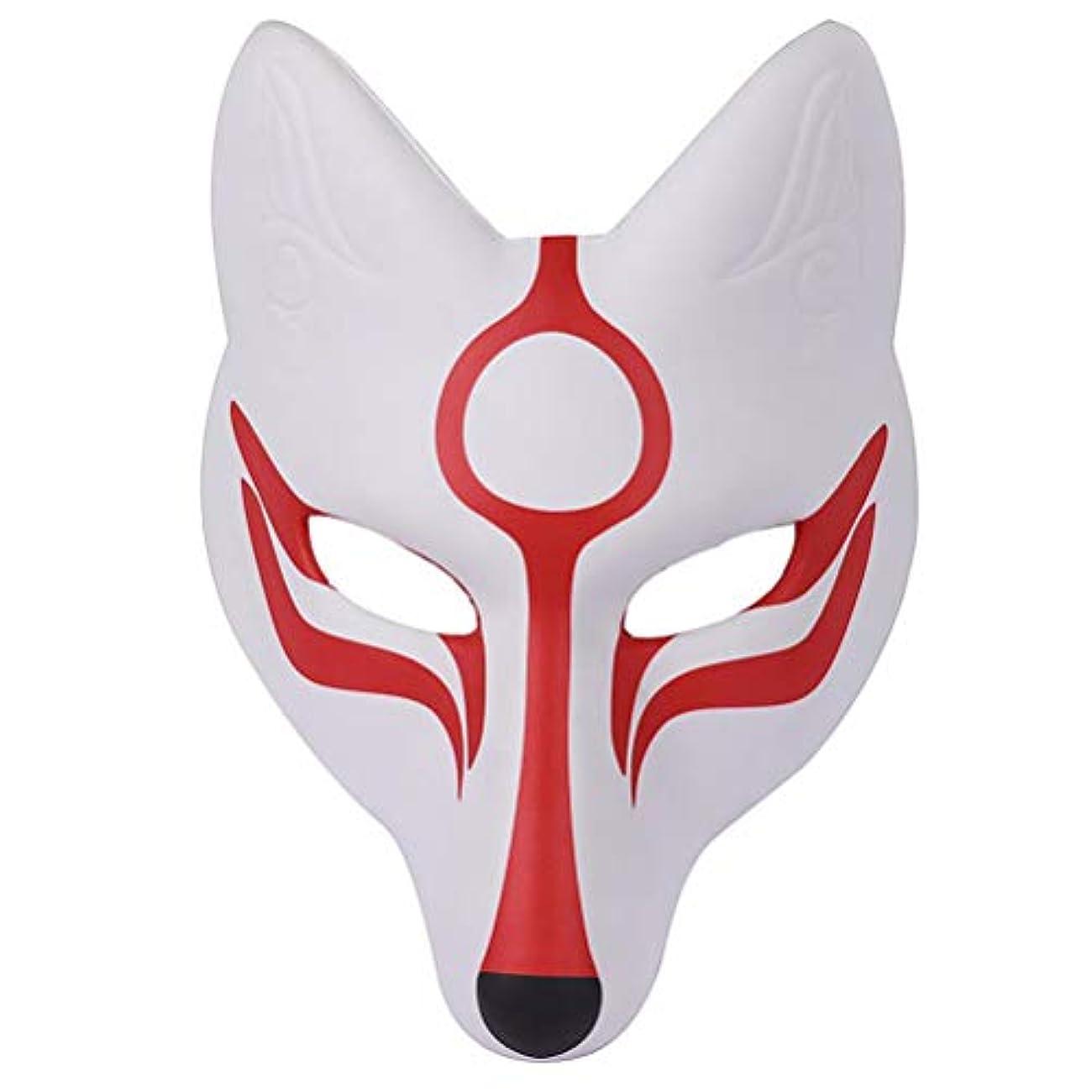 飾り羽かなりの暴露AMOSFUN フォックスマスク日本歌舞伎きつねマスク用男性女性子供ハロウィーン仮装衣装プロップ
