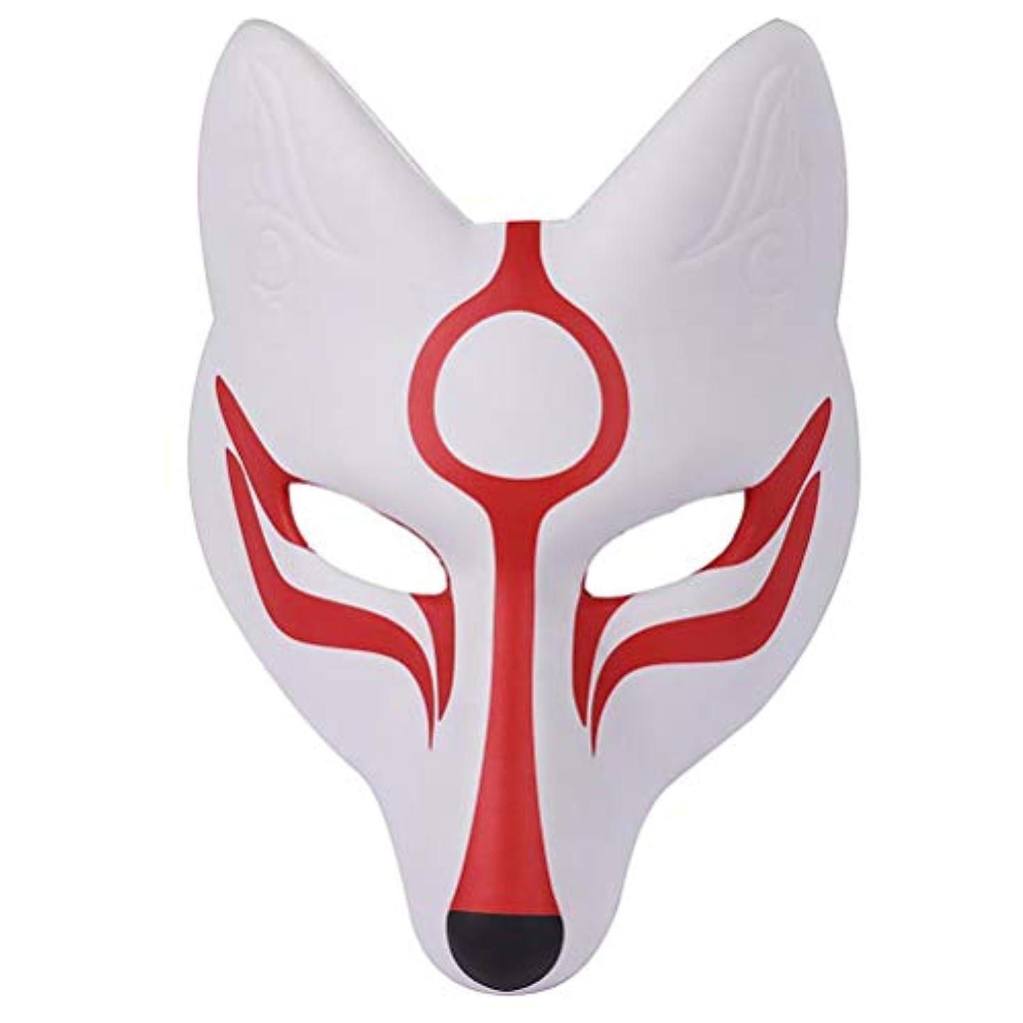 建築着飾る持つAMOSFUN フォックスマスク日本歌舞伎きつねマスク用男性女性子供ハロウィーン仮装衣装プロップ