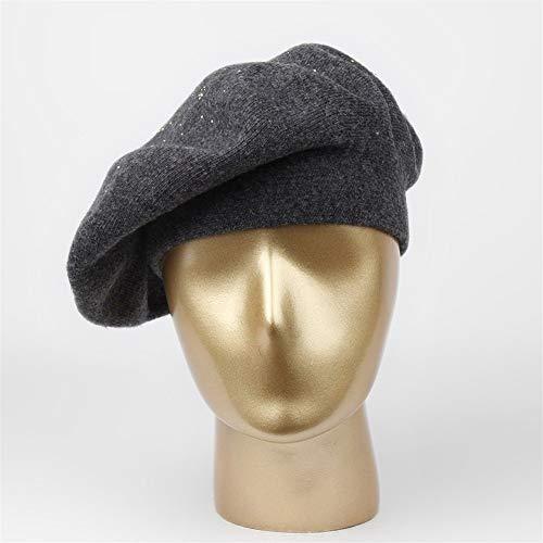 ウールカシミヤの冬ニット帽子女性のベレー帽レディースエレガン...
