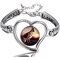 OneBee Image Custom Fashion Design Glass Snap Buttons Crystal Heart Bracelet & Bangles Jewelry Charms Silver