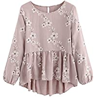 SheIn Women's Loose Ruffle Hem Peplum Short Sleeve Blouse Top