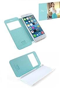 AZEAL iphone6 防水 レザー デザイン ケース【iphone & iPad 用 ホームボタン シール 付き】/ カバー アイフォン6 ブルー おまけホームボタン白×銀