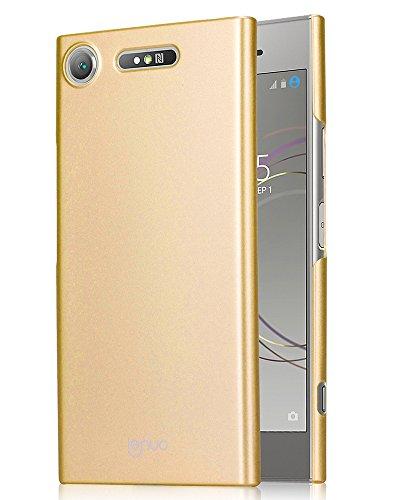 OURJOY Xperia XZ1 ケース 全面保護 指紋防止 耐衝撃 PC素材 エクスペリアXZ1 保護カバー (ゴールド)