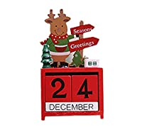 (ティーモイス)Timoise クリスマス インテリア カレンダー オーナメント 木製 装飾 雪だるま サンタクロース プレゼント 置物 可愛い エルク 雰囲気 ホーム 子供 (エルク)