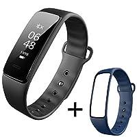 インテリジェントスポーツブレスレット心拍数血圧計ステップ睡眠監視防水男性と女性の多機能歩数計ウォッチ心拍数血圧監視電話SMSスマートリマインダー (Color : Black+blue strap)