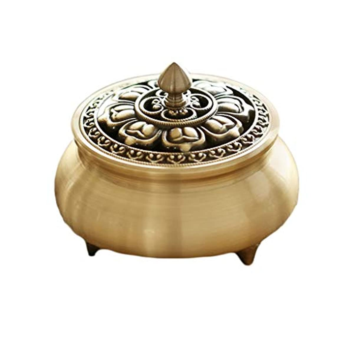 スムーズに望ましい過度に芳香器?アロマバーナー 純粋な銅香炉ホームアンティーク白檀用仏寒天香炉香り装飾アロマセラピー炉 アロマバーナー (Color : Brass)